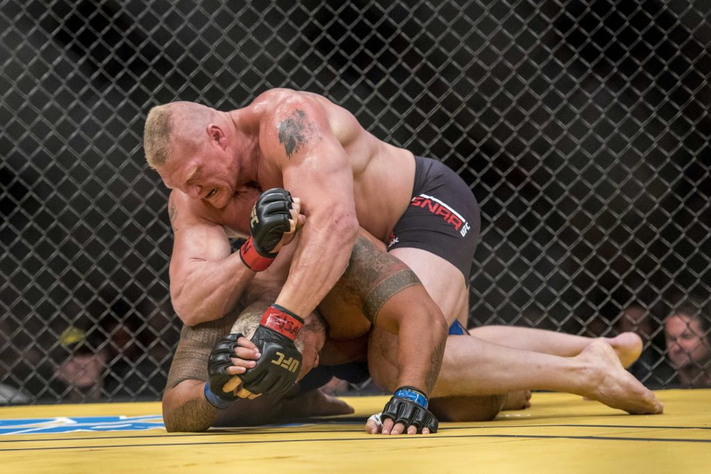 Mark Hunt fights Brock Lesnar during UFC 200