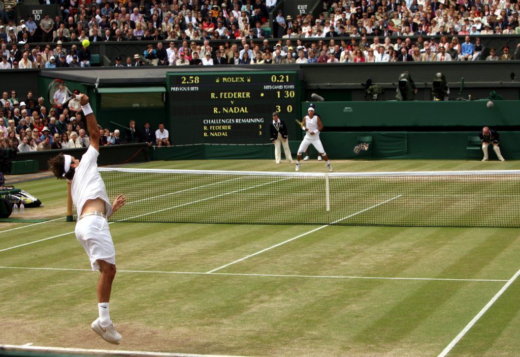 Rafael Nadal and Roger Federer during the 2008 Wimbledon Men's Final