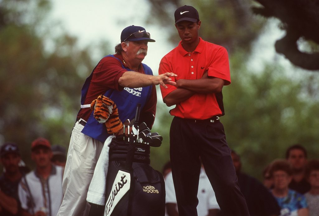 Tiger Woods with his caddy