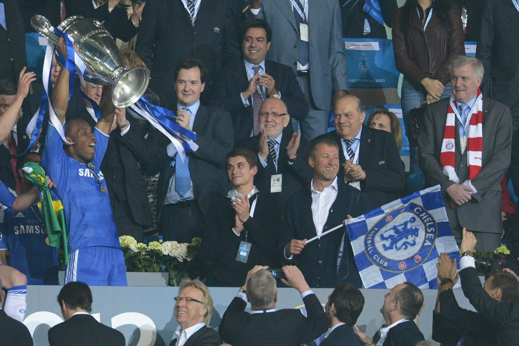 Didier Drogba lifting the Champions League trophy