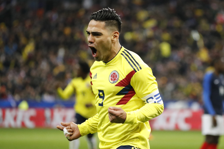World Cup 2018 Group H Colombian striker Radamel Falcao celebrating his goal against France