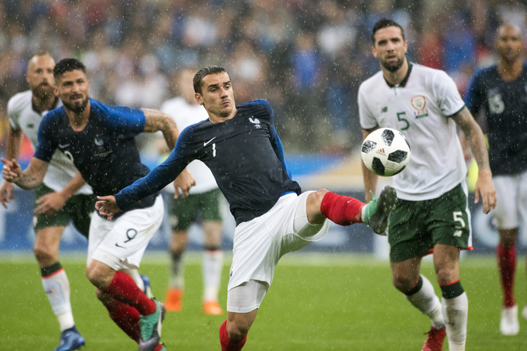 N'Golo Kante will be with teammate Antoine Griezmann pictured during a friendly between France and Republic of Ireland