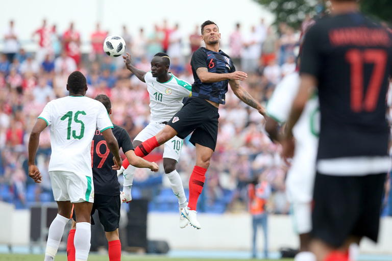 World Cup 2018 Group H Senegalese winger Sadio Mane jumps for a header against Croatia