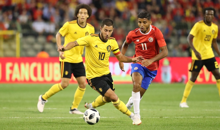 World Cup 2018 Group G contains Belgian winger Eden Hazard who is pictured here dribbling against Costa Rica