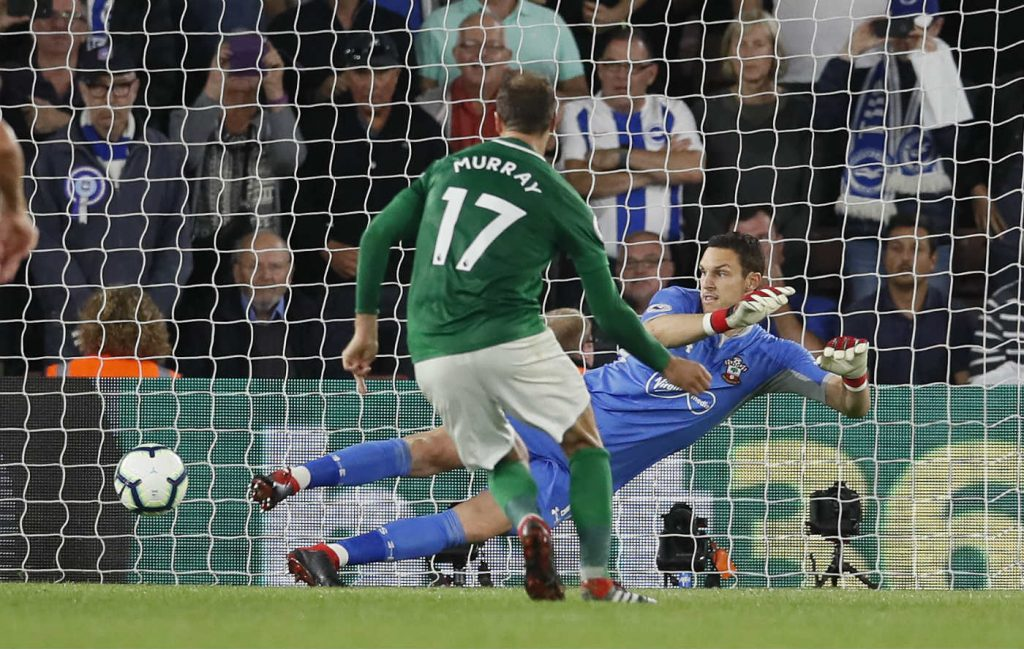 Murray scoring against Southampton. He is tipped to score again, as part of our Brighton vs Tottenham predictions