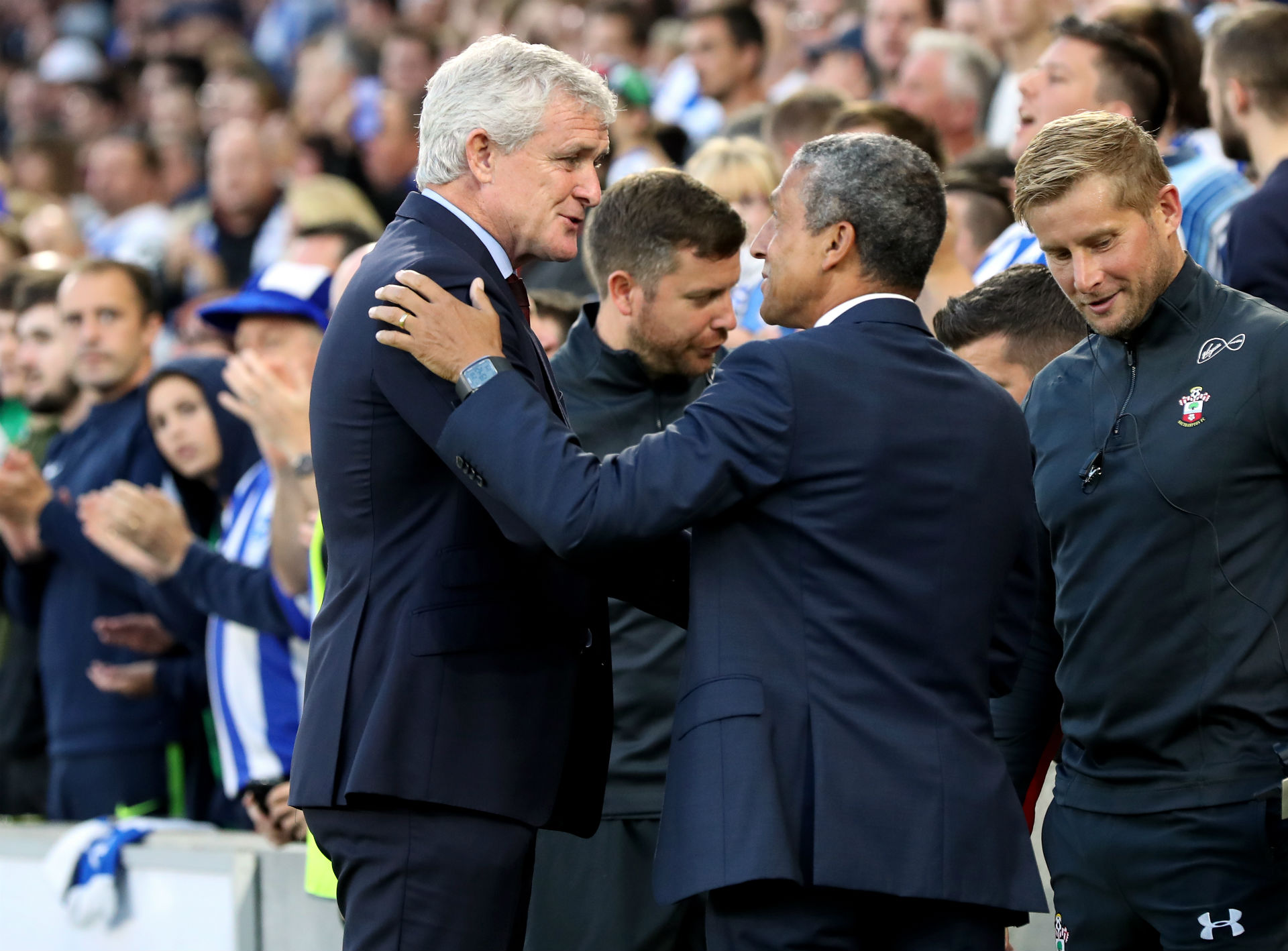 Mark Hughes, manager of Southampton and Chris Hughton manager of Brighton, Southampton vs Brighton predictions