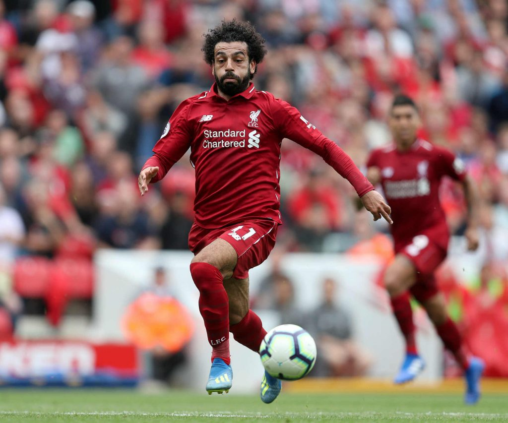 Mohamed Salah bursting through to goal against Crystal Palace