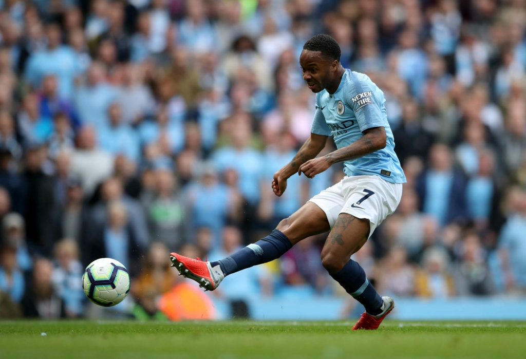 Raheem Sterling shooting against Arsenal, and tipped to score as part of our Man City vs Lyon predictions