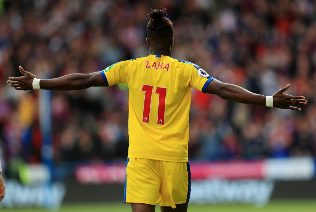 Zaha scoring against Huddersfield. We've tipped him to score as part of our Crystal Palace vs Newcastle predictions
