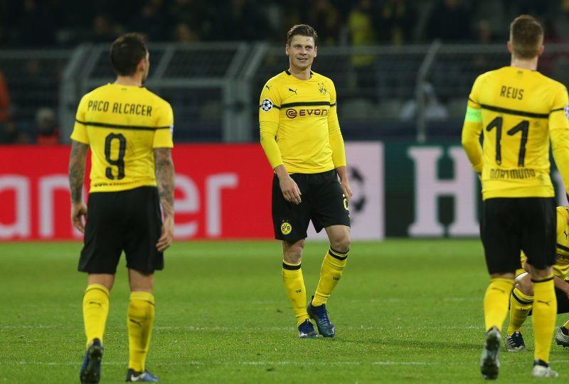 Borussia Dortmund players Paco Alcacer and Marco Reus