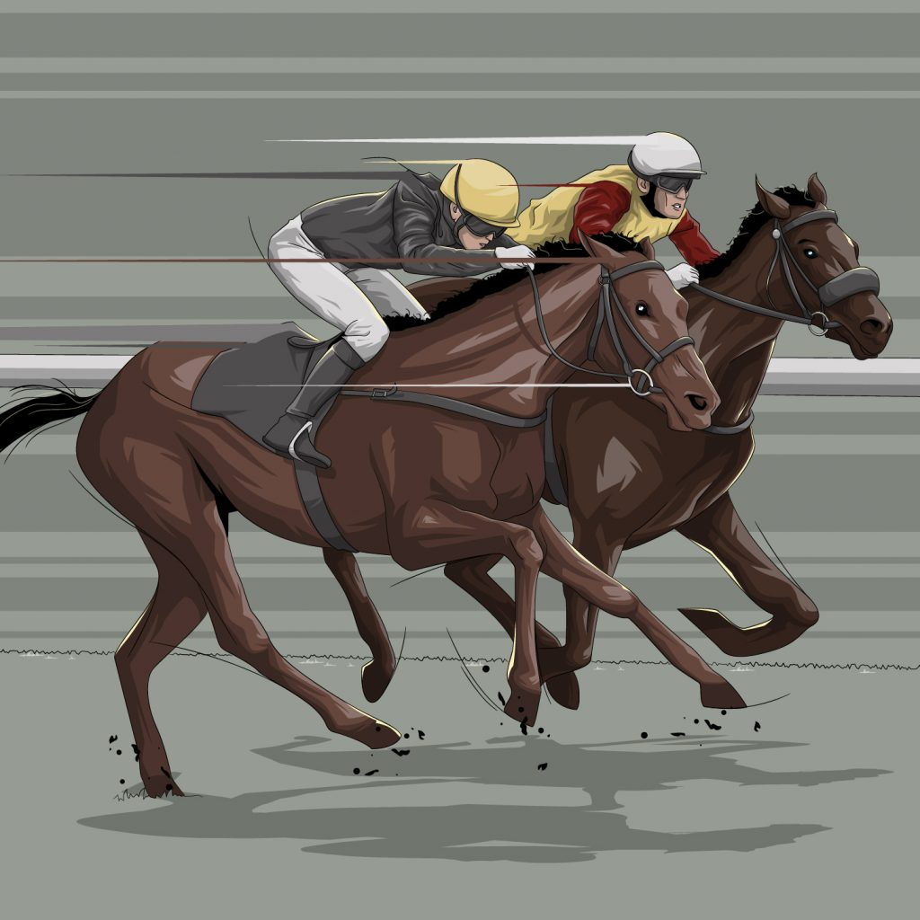 1973 Red Rum vs Crisp illustration